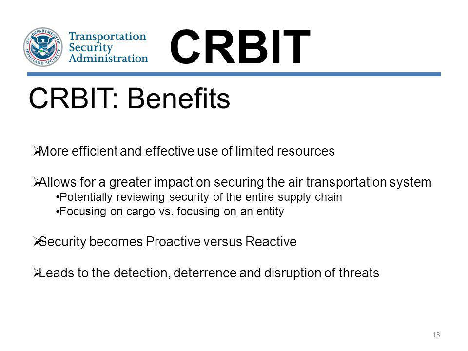 CRBIT CRBIT: Benefits. More efficient and effective use of limited resources. Allows for a greater impact on securing the air transportation system.