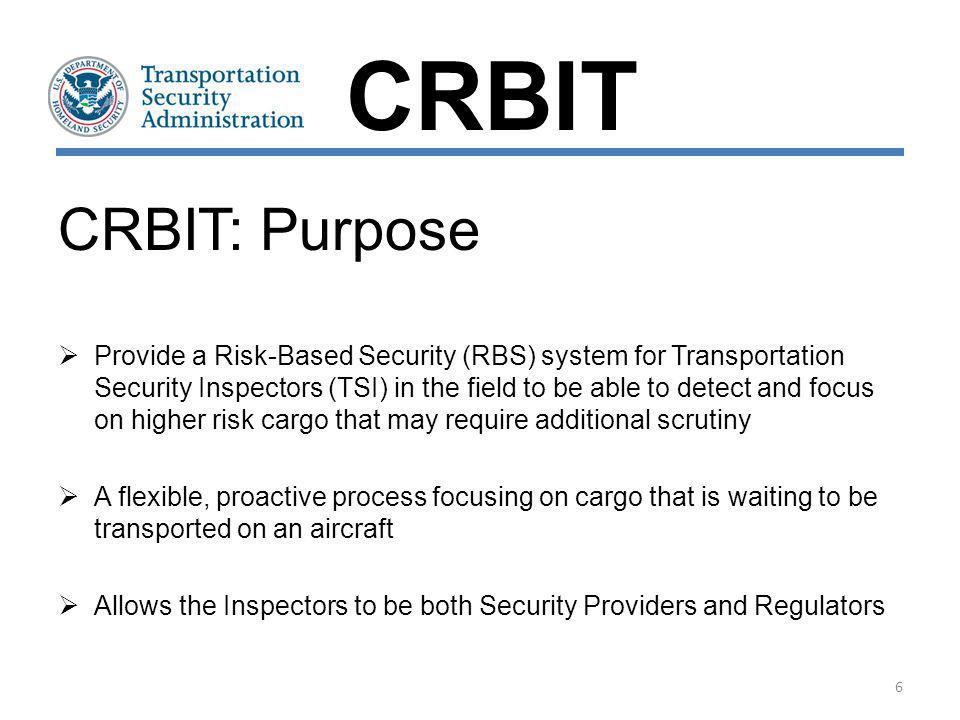 CRBIT CRBIT: Purpose.
