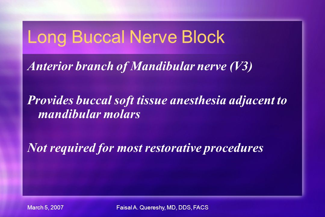 Long Buccal Nerve Block