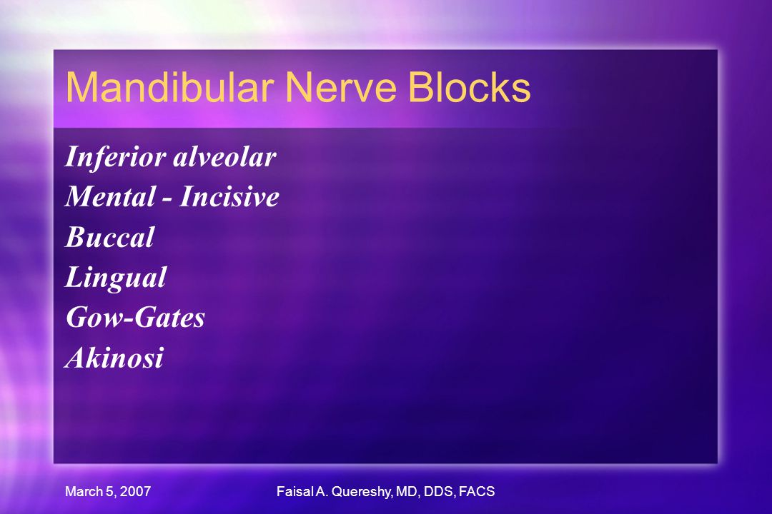 Mandibular Nerve Blocks