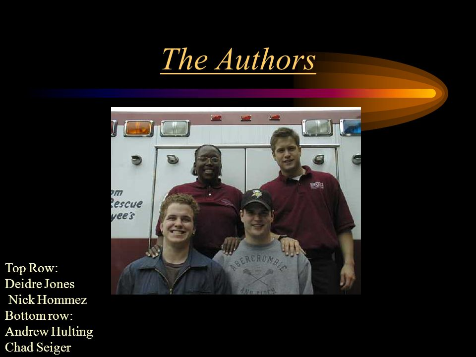 The Authors Top Row: Deidre Jones Nick Hommez Bottom row: