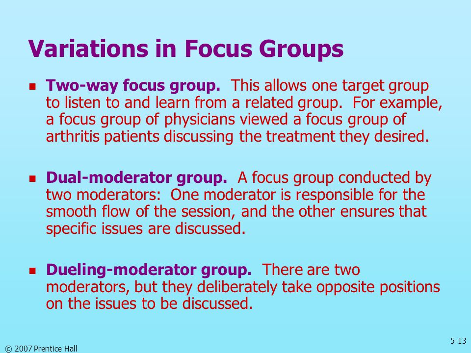 Variations in Focus Groups