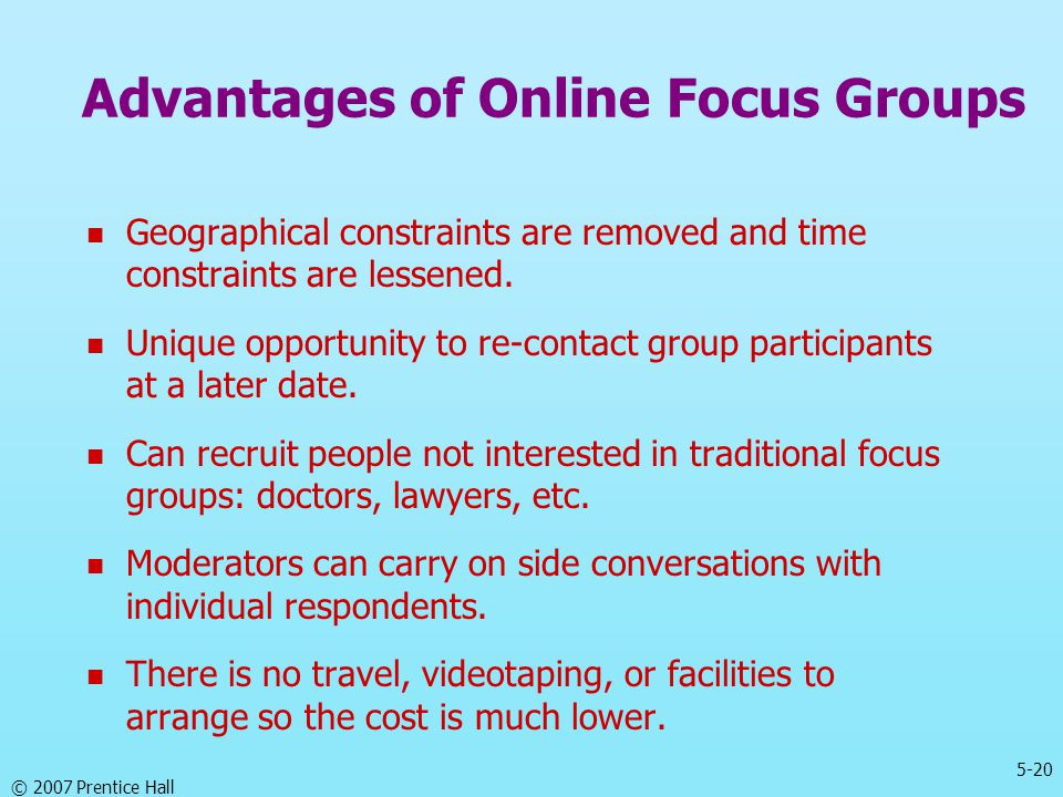 Advantages of Online Focus Groups