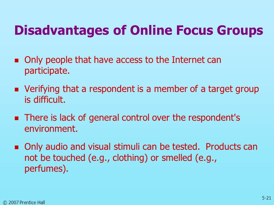 Disadvantages of Online Focus Groups