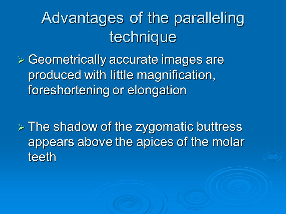 Advantages of the paralleling technique