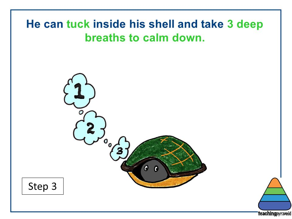 He can tuck inside his shell and take 3 deep breaths to calm down.
