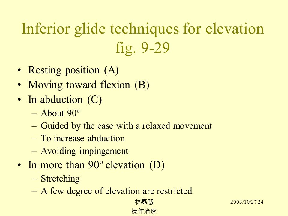 Inferior glide techniques for elevation fig. 9-29