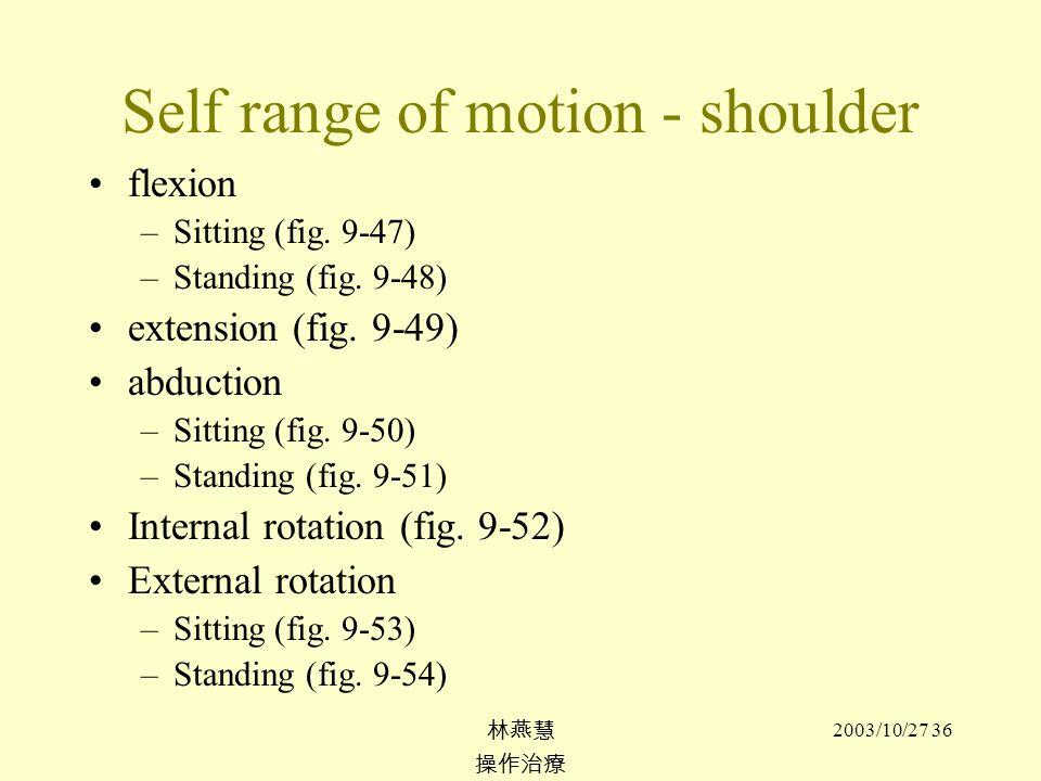 Self range of motion - shoulder
