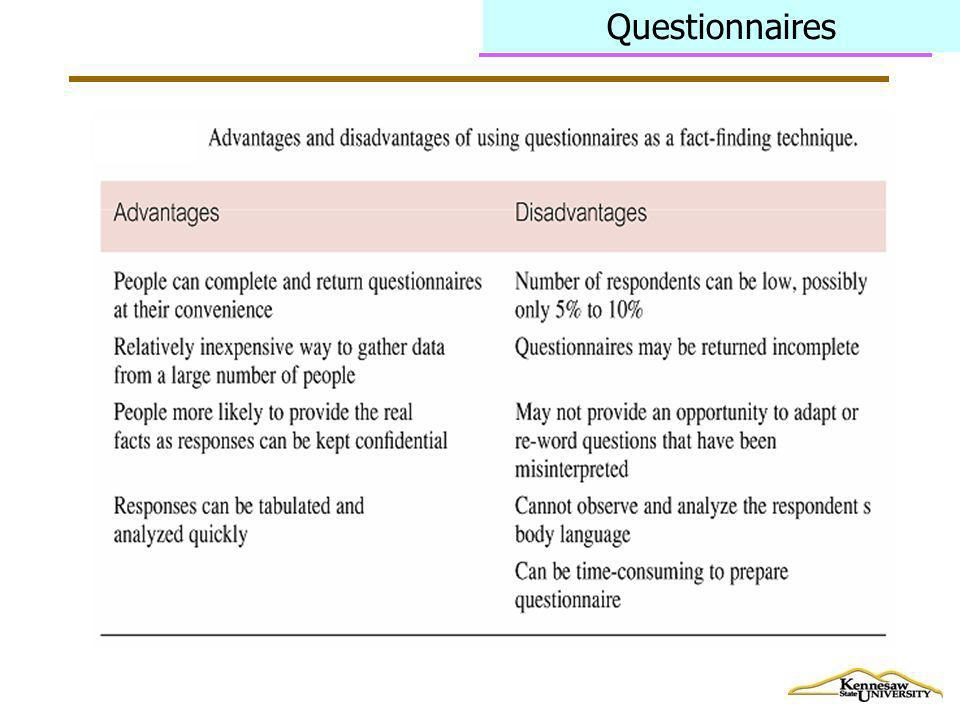 Questionnaires Questionnaires lack flexibility and they typically have a very low response rate.