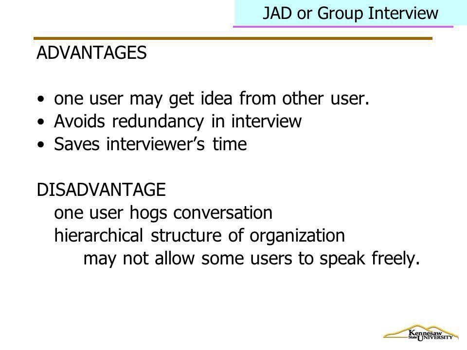 one user may get idea from other user. Avoids redundancy in interview