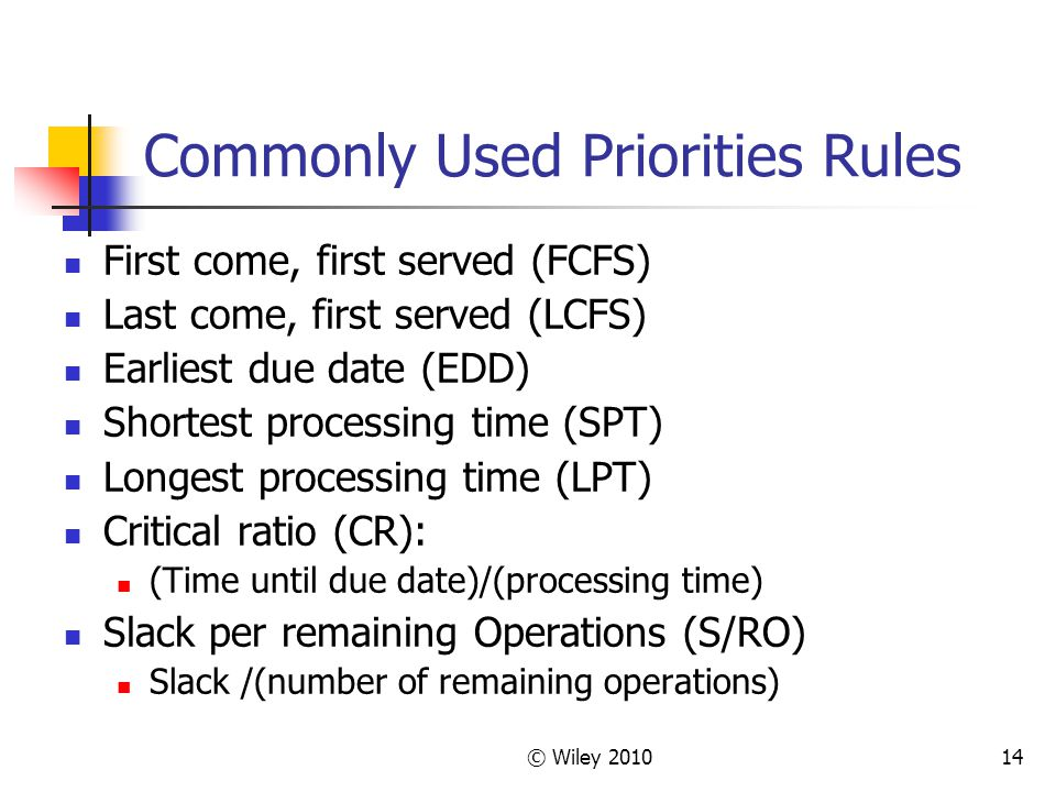 Commonly Used Priorities Rules