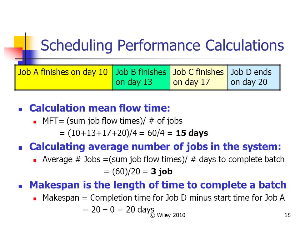 Scheduling Performance Calculations