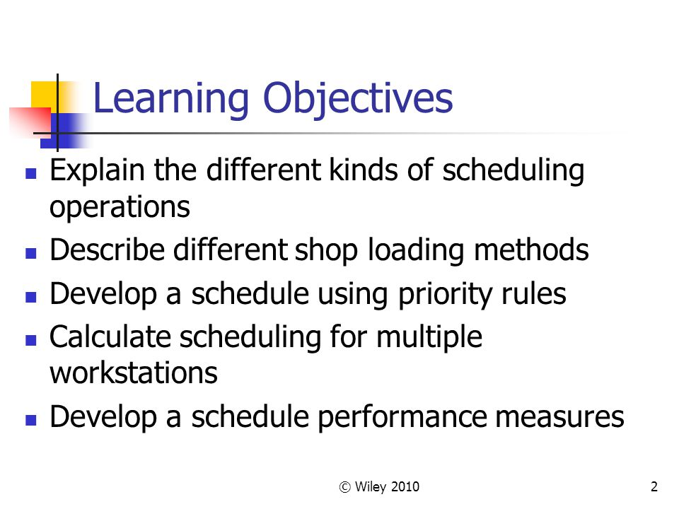 Learning Objectives Explain the different kinds of scheduling operations. Describe different shop loading methods.