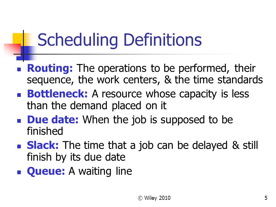 Scheduling Definitions