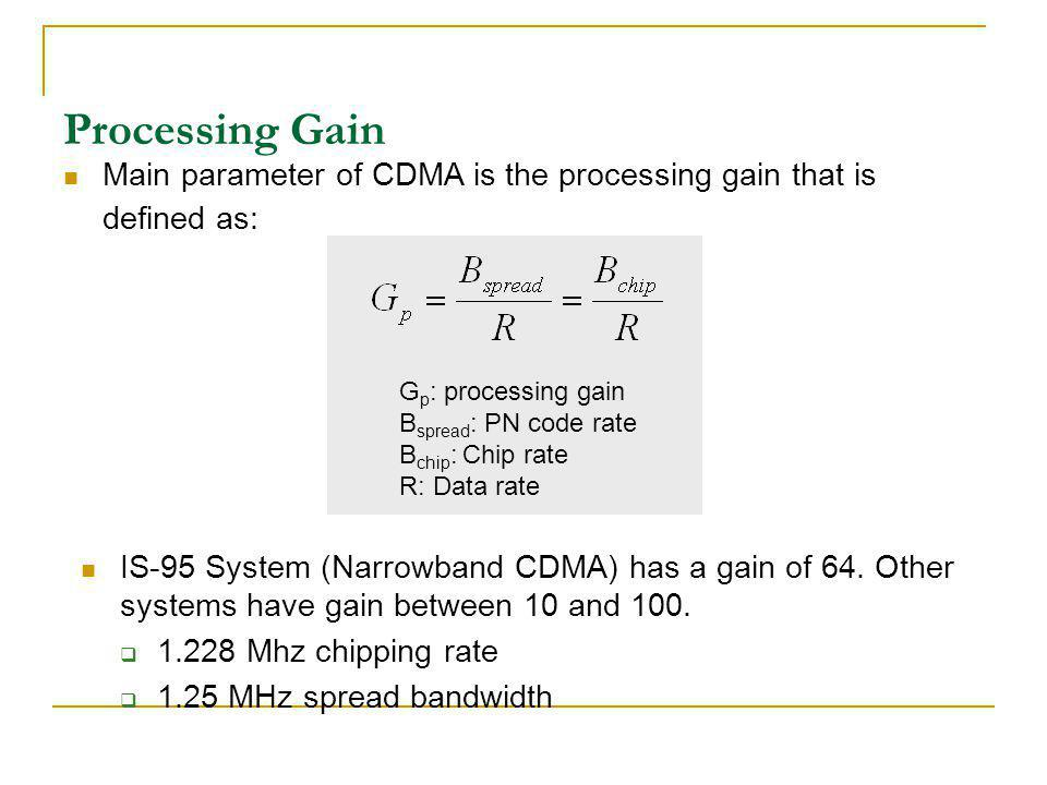Processing Gain Main parameter of CDMA is the processing gain that is defined as: Gp: processing gain.