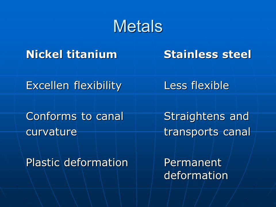 Metals Nickel titanium Stainless steel
