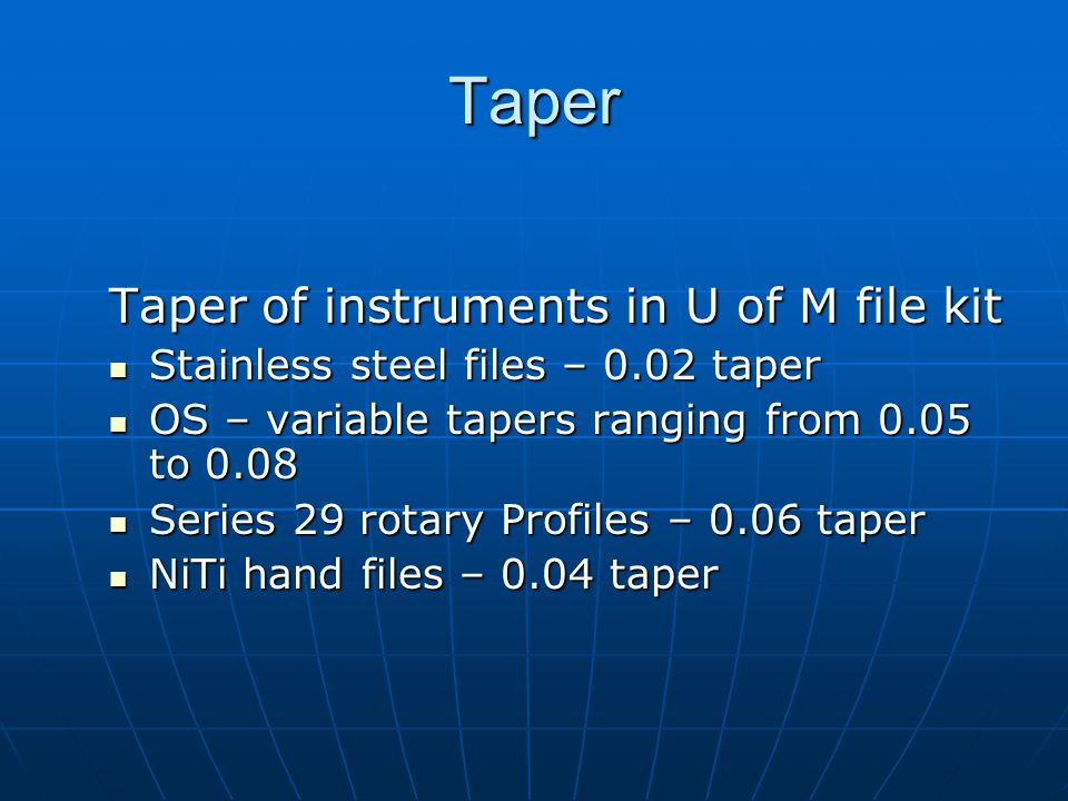 Taper Taper of instruments in U of M file kit