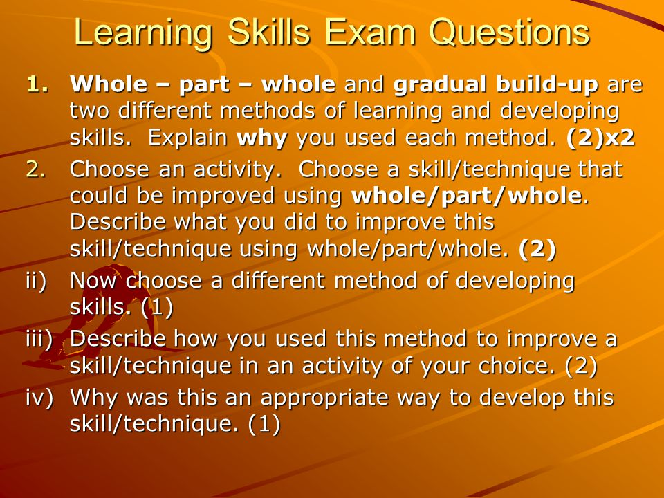 Learning Skills Exam Questions