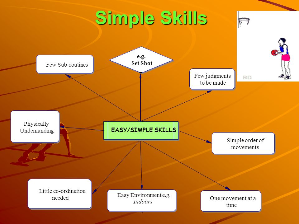 Simple Skills EASY/SIMPLE SKILLS Few Sub-routines Physically