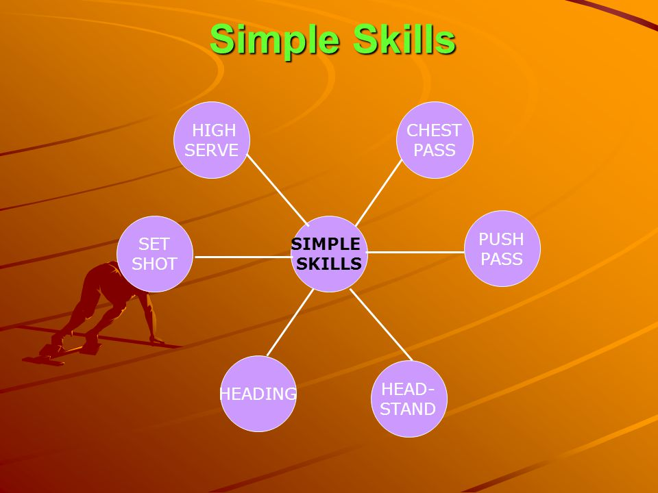 Simple Skills HIGH SERVE CHEST PASS PUSH PASS SET SHOT SIMPLE SKILLS