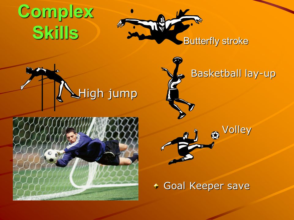 Complex Skills High jump Butterfly stroke Basketball lay-up Volley