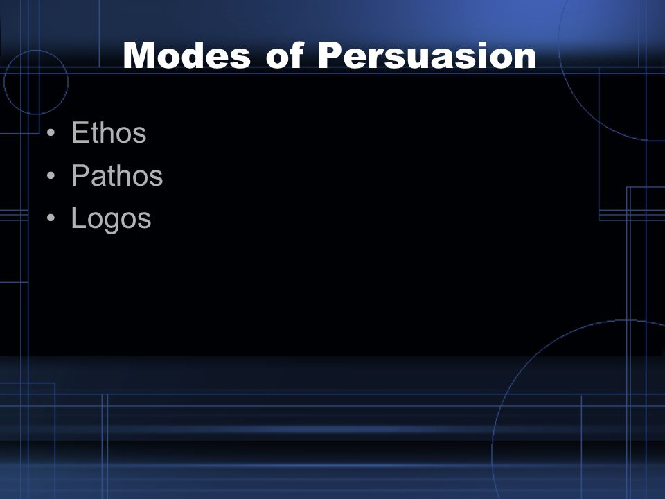 Modes of Persuasion Ethos Pathos Logos