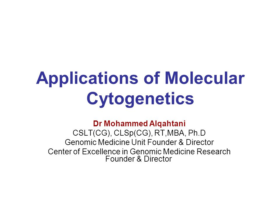 Applications of Molecular Cytogenetics