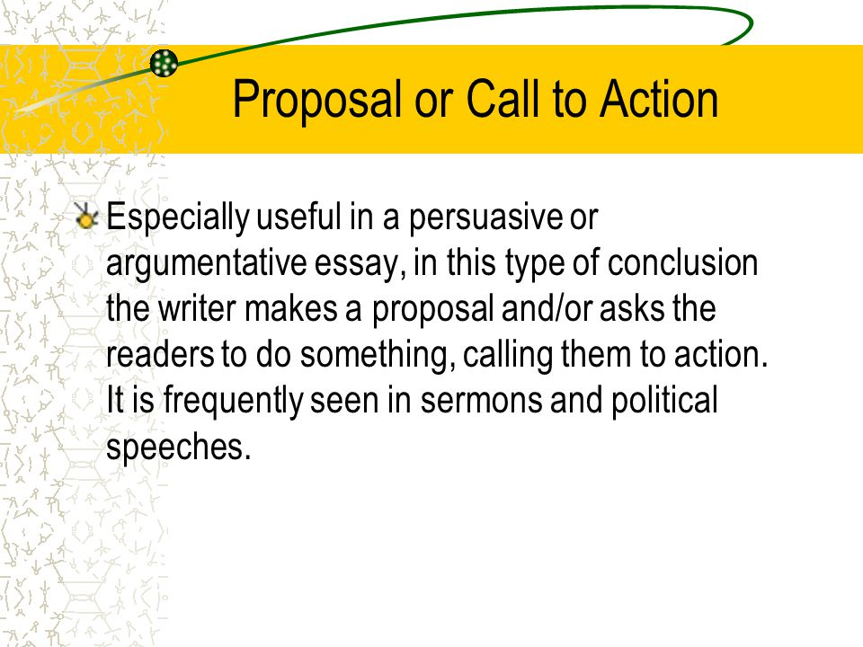 Proposal or Call to Action