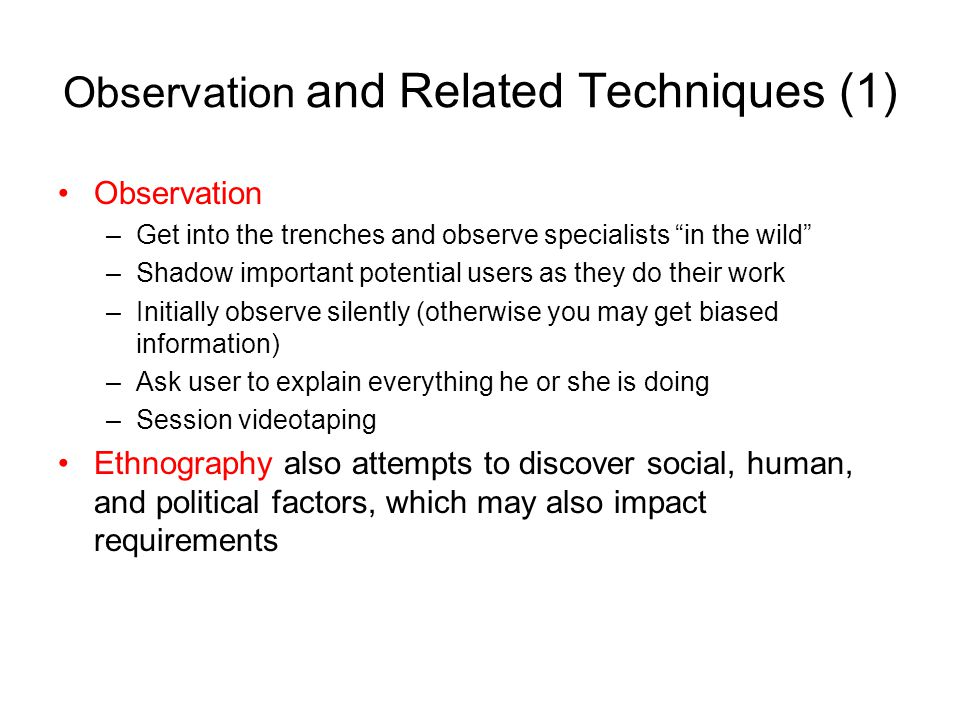 Observation and Related Techniques (1)
