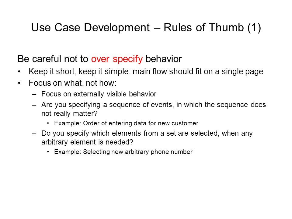 Use Case Development – Rules of Thumb (1)