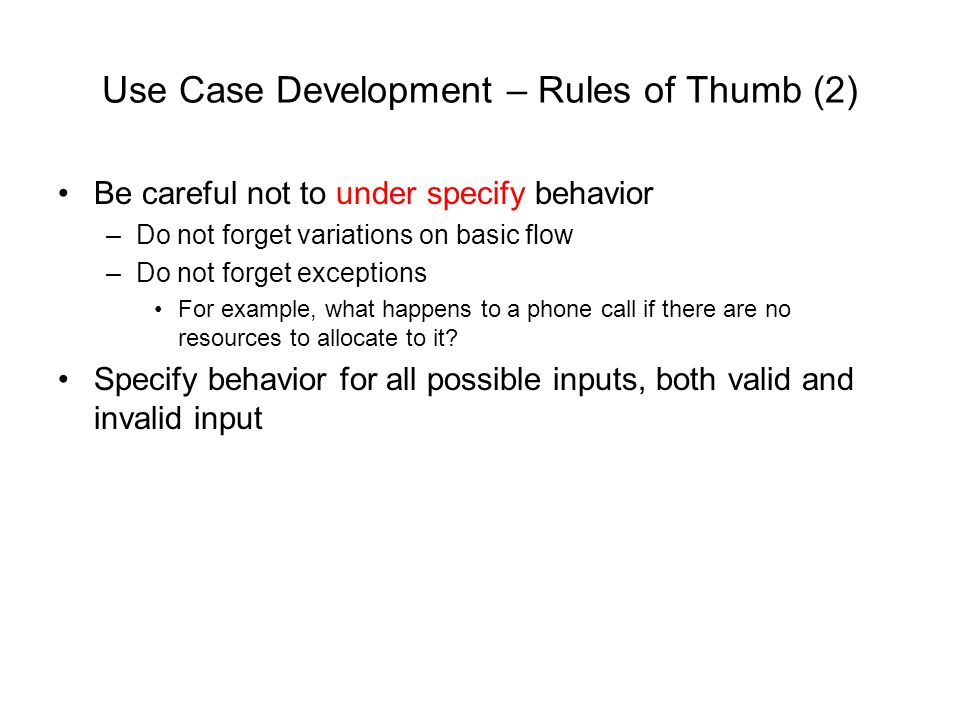 Use Case Development – Rules of Thumb (2)
