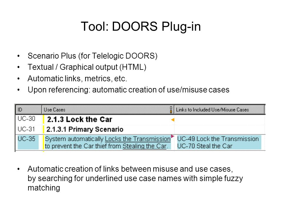 Tool: DOORS Plug-in Scenario Plus (for Telelogic DOORS)