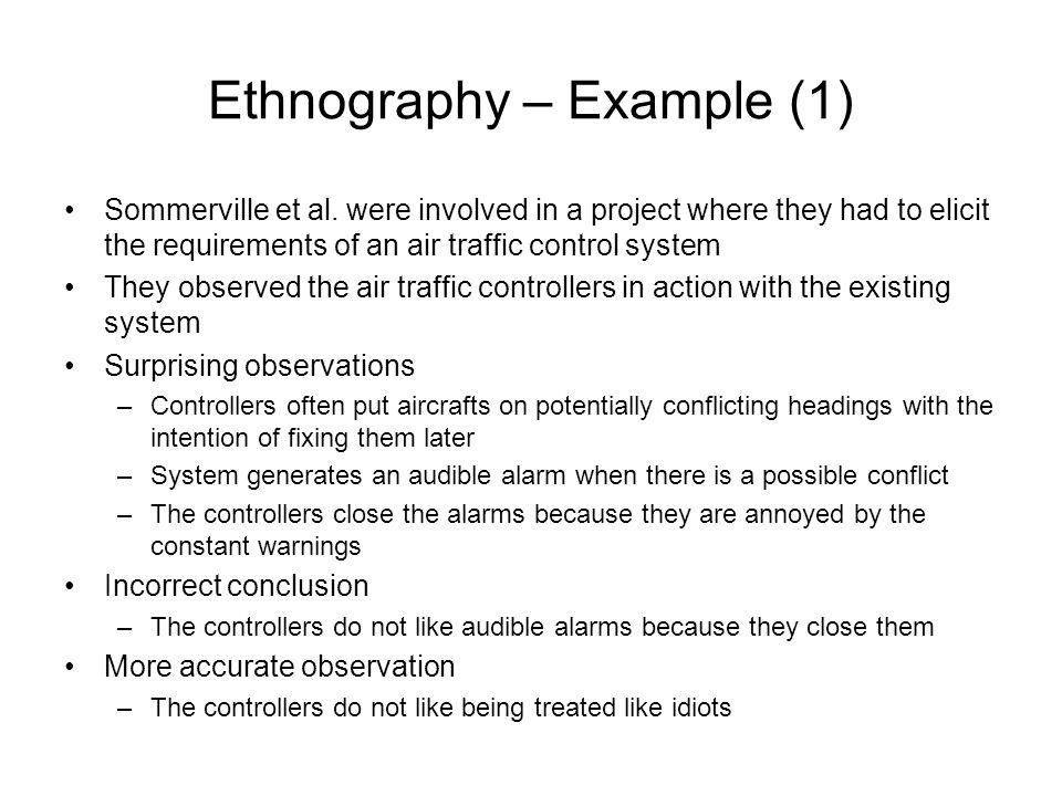 Ethnography – Example (1)