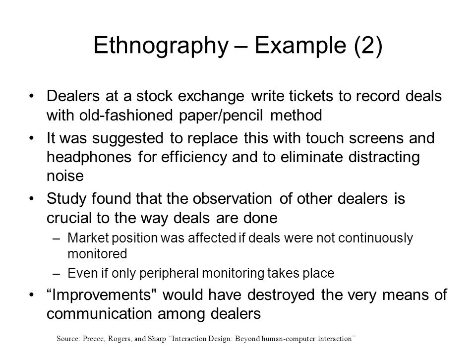 Ethnography – Example (2)