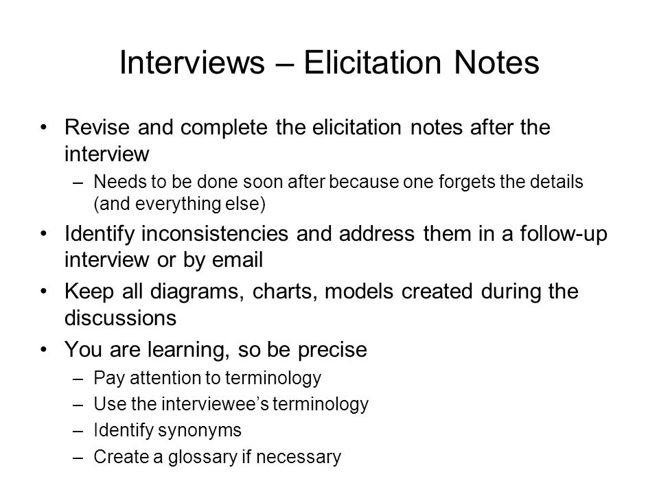 Interviews – Elicitation Notes
