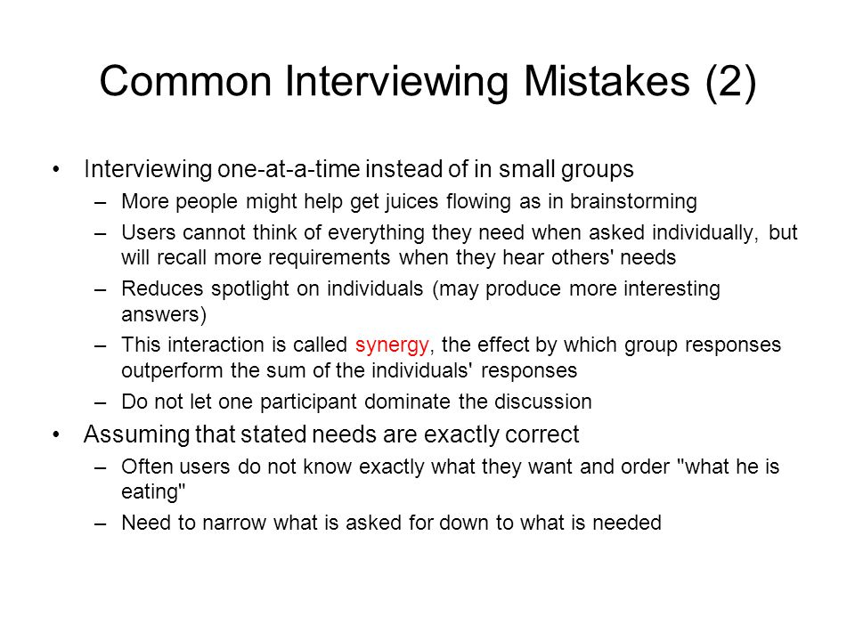 Common Interviewing Mistakes (2)