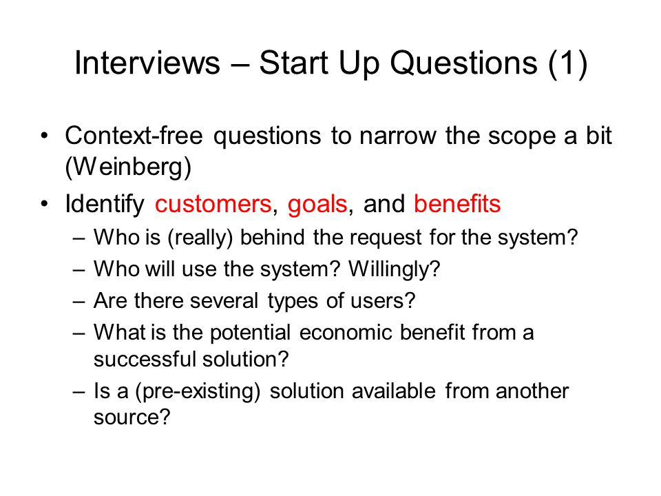 Interviews – Start Up Questions (1)