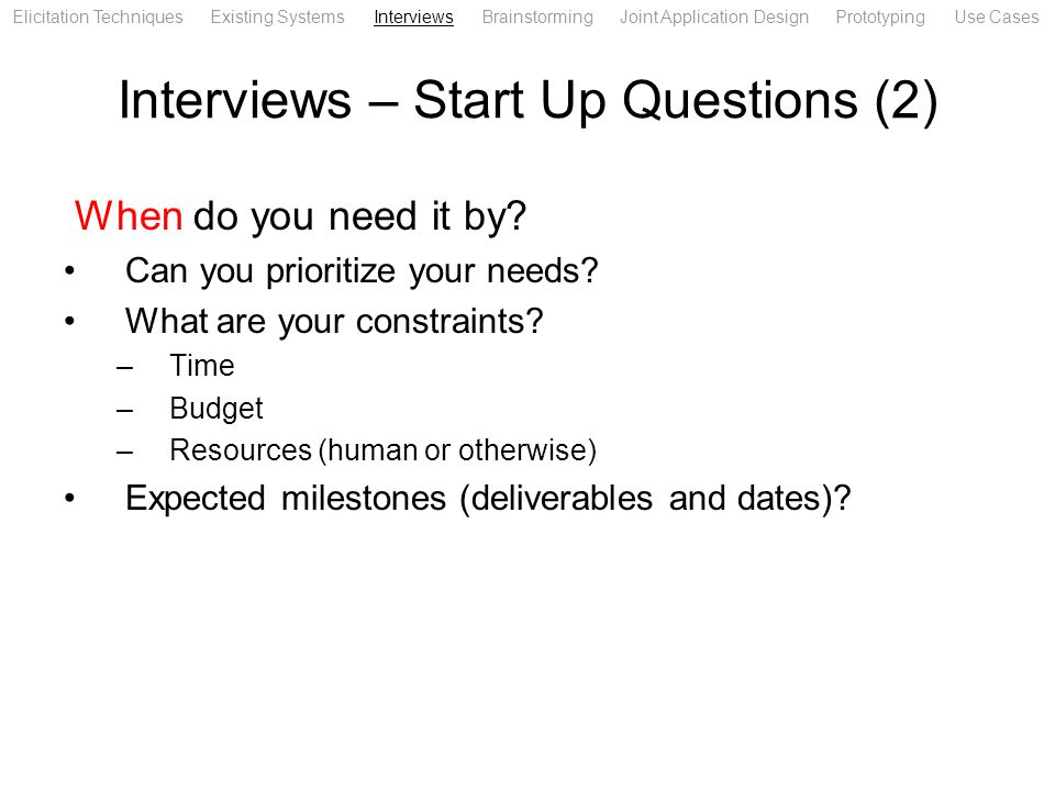 Interviews – Start Up Questions (2)