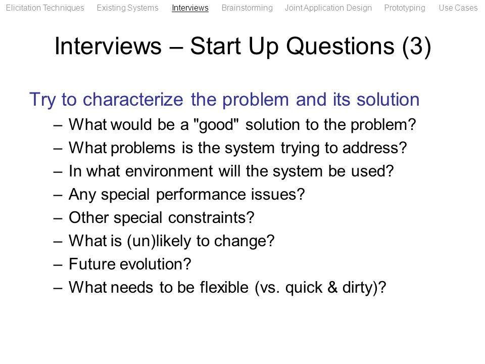 Interviews – Start Up Questions (3)