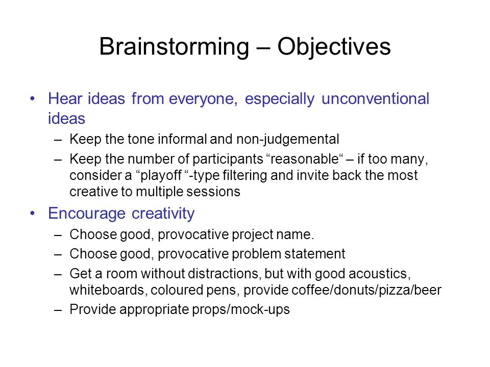 Brainstorming – Objectives