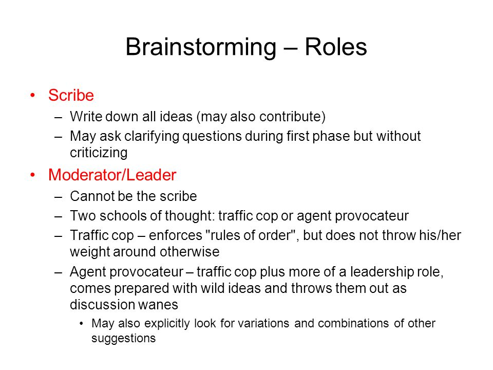 Brainstorming – Roles Scribe Moderator/Leader