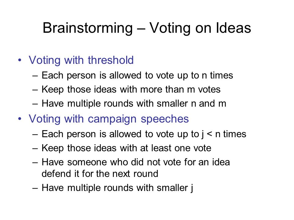 Brainstorming – Voting on Ideas