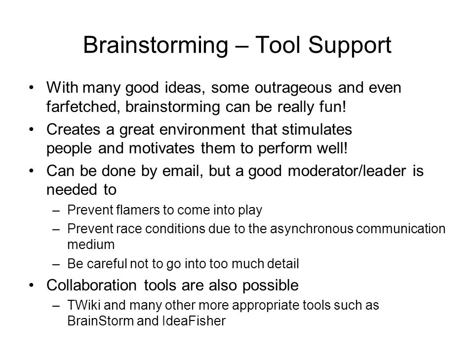 Brainstorming – Tool Support