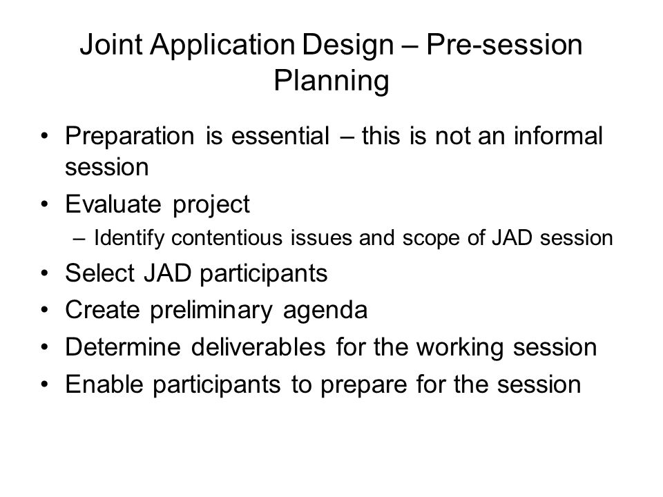 Joint Application Design – Pre-session Planning