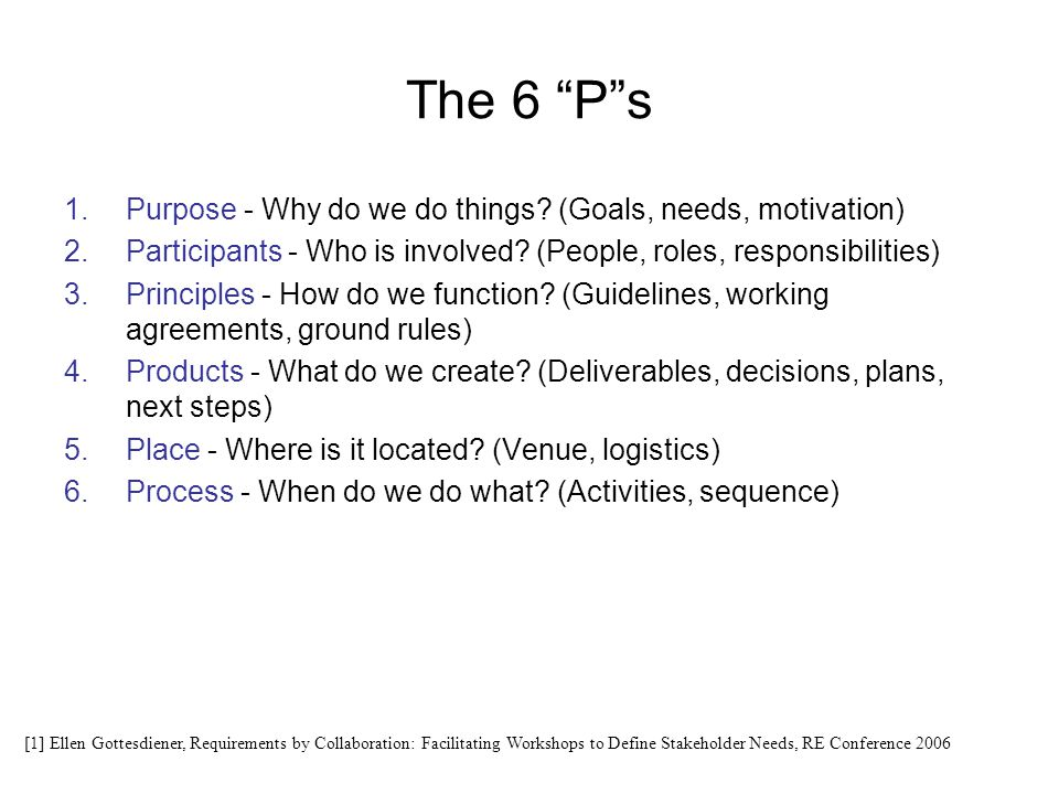 The 6 P s Purpose - Why do we do things (Goals, needs, motivation)