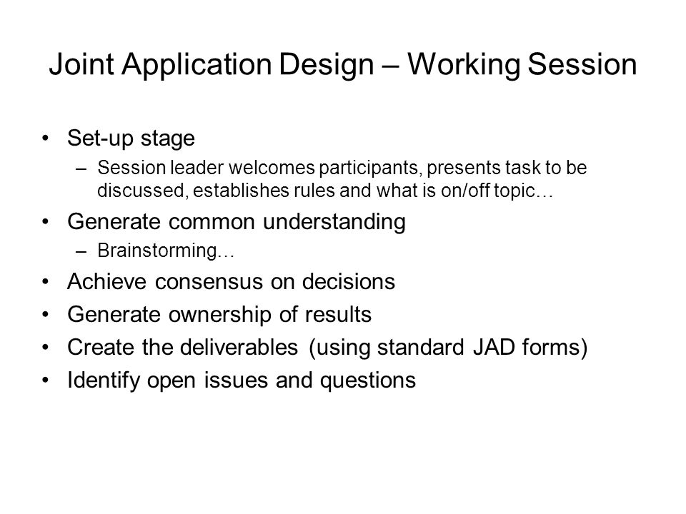 Joint Application Design – Working Session