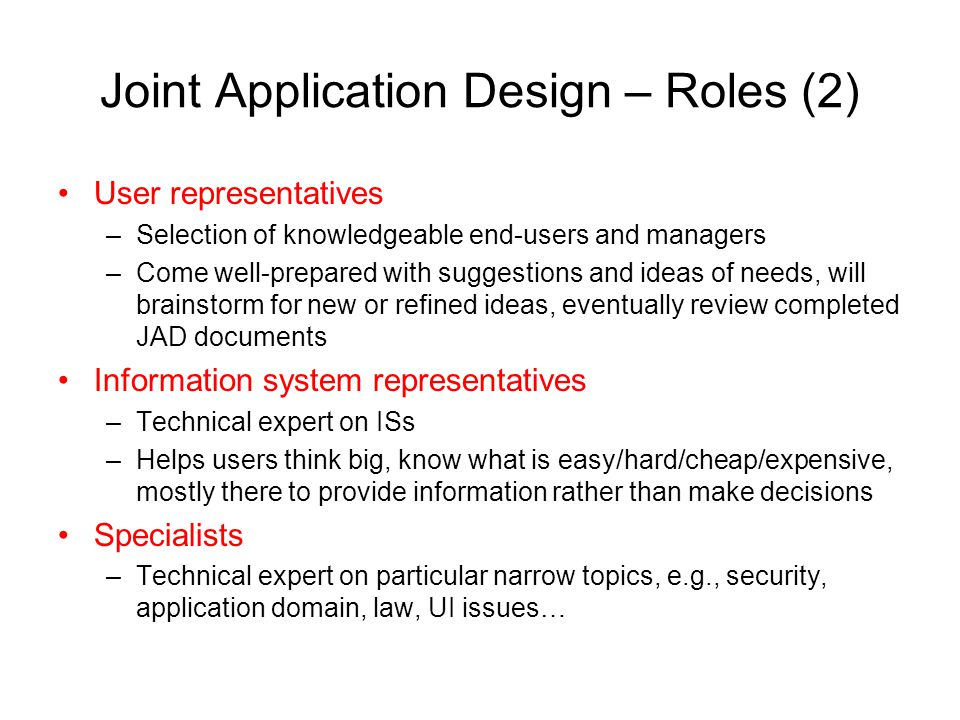 Joint Application Design – Roles (2)