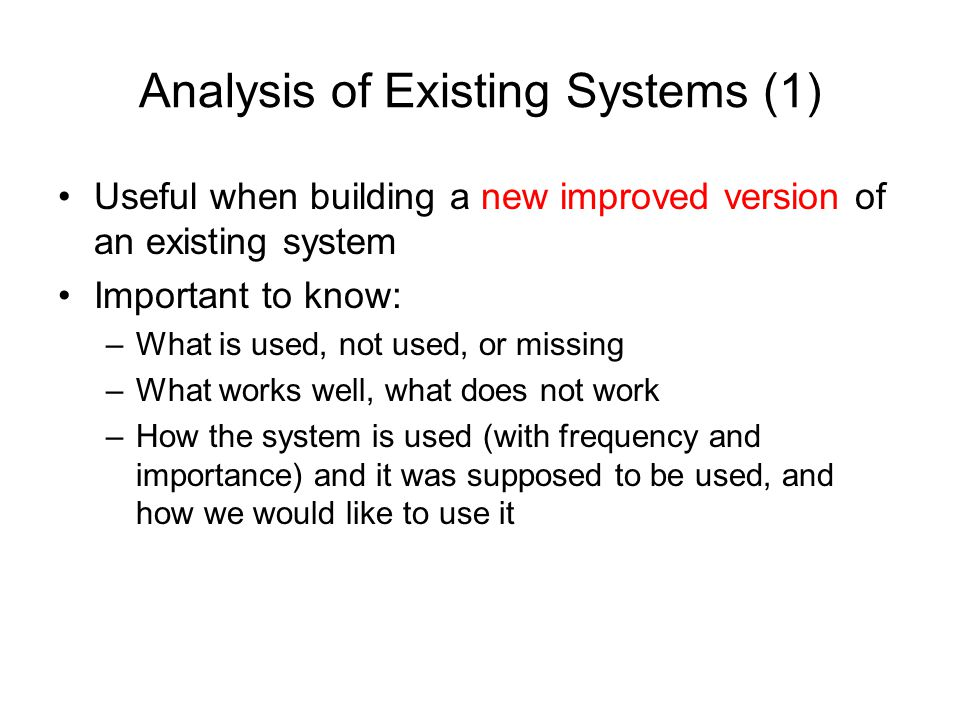 Analysis of Existing Systems (1)