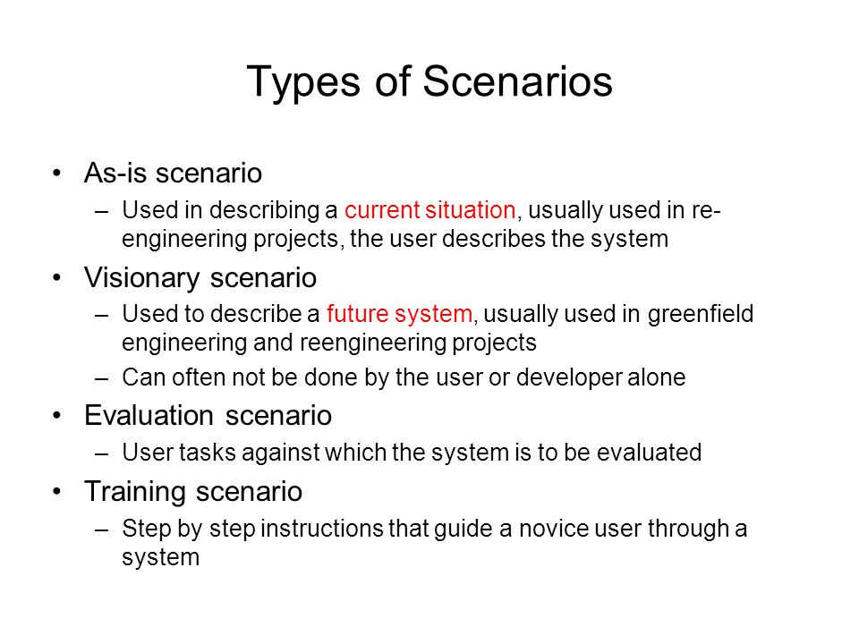 Types of Scenarios As-is scenario Visionary scenario