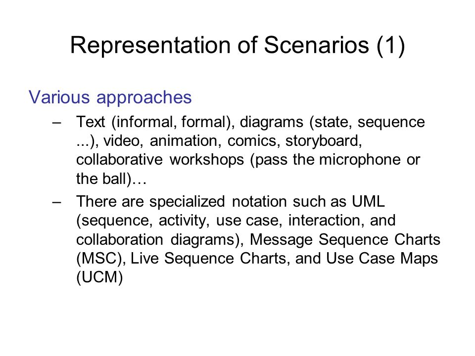 Representation of Scenarios (1)